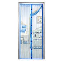 Дверна антимоскітна сітка Magnetic Mesh на магнітах блакитна 210 х 120 см, фото 1