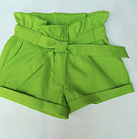Шорты детские для девочки с поясом 7-12 лет,салатового цвета
