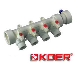 Коллектор с шаровыми кранами Koer 40х20 на 4 выхода полипропиленовый