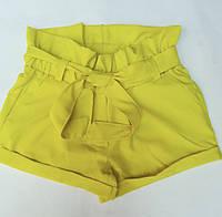 Шорты детские для девочки с поясом 7-12 лет,желтого цвета