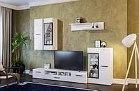 Тумба под телевизор со шкафами Світ Меблів Токио Белый/ Белый глянец