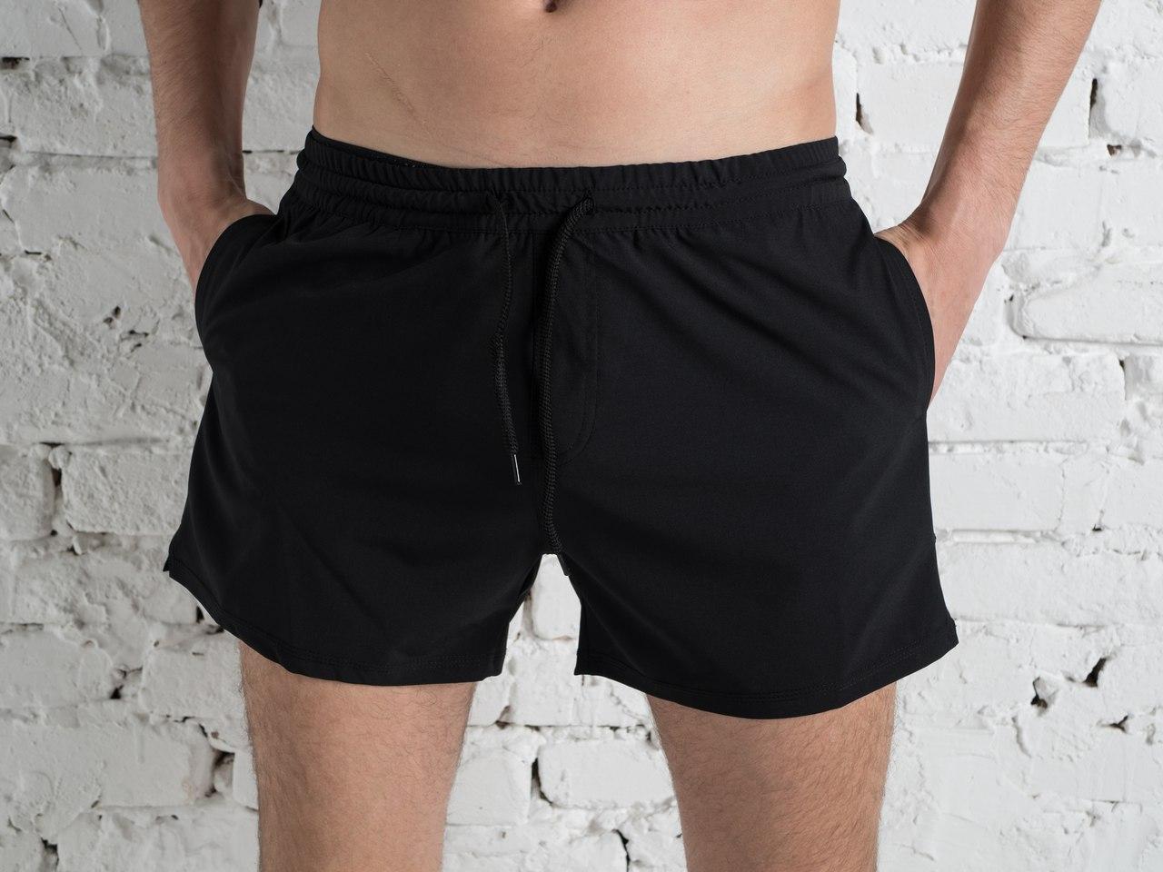 Шорты мужские Pobedov комфортные пляжные плавки из европейской плащевки в черном цвете