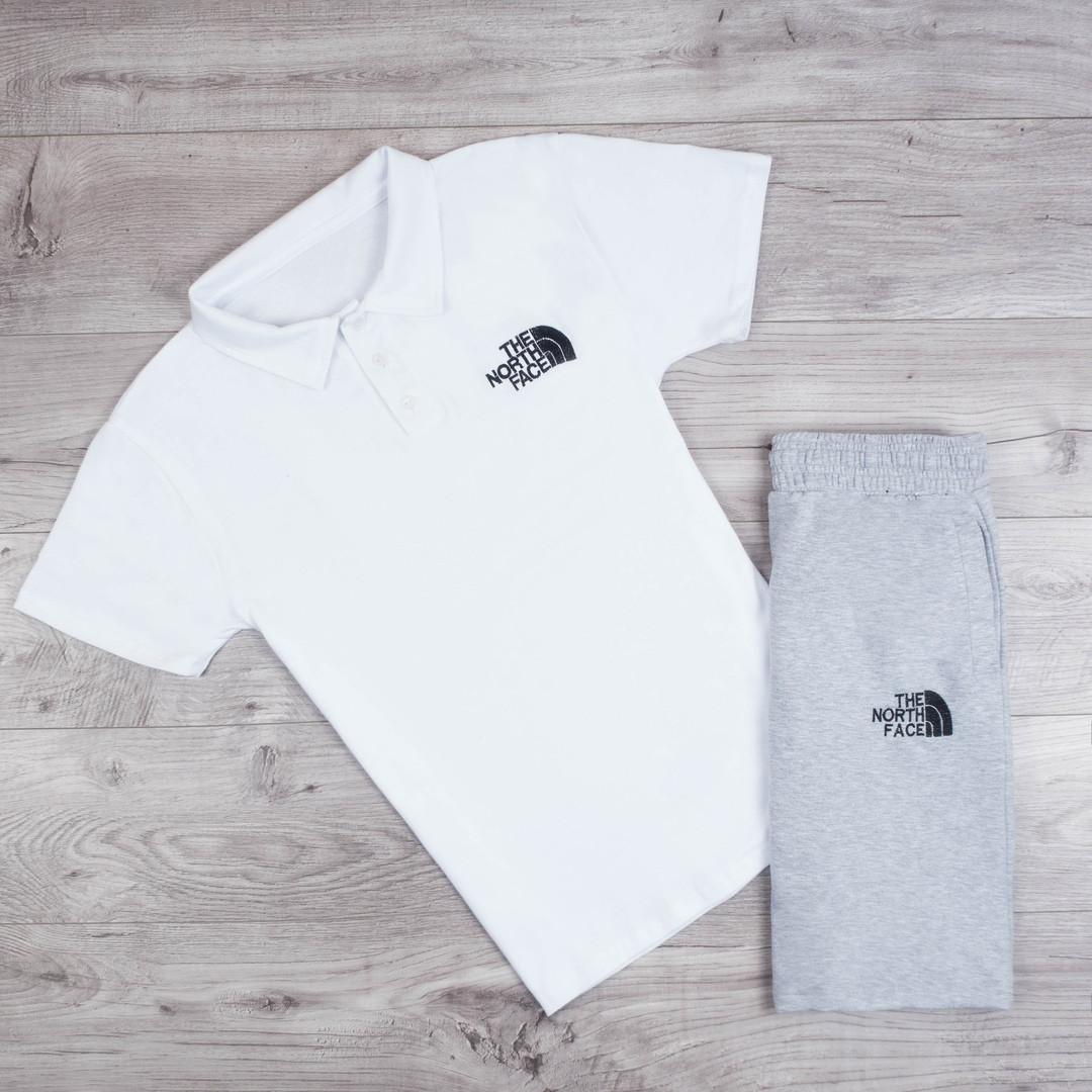 Мужская футболка поло The North Face летняя комфортная удобная белая, ТОП-реплика