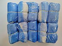 Бахилы бело голубые медицинские одноразовые, с двойным дном 6 гр. 18 мкр. 1060