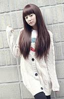 Парик искусственные волосы темно-коричневый прямые с челкой