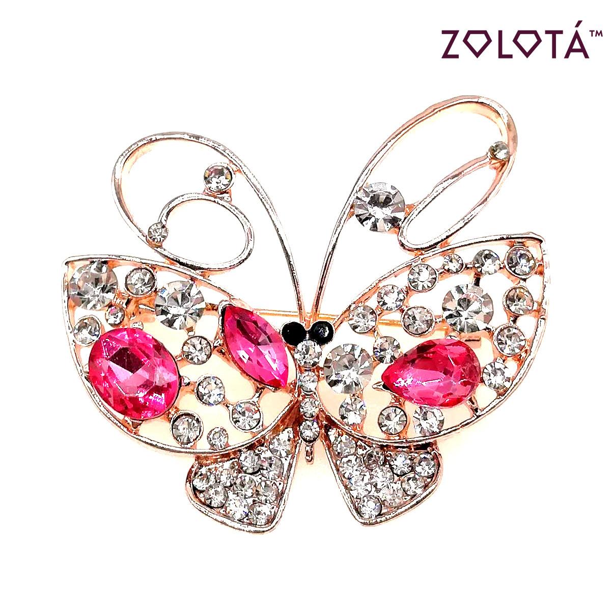 """Брошка """"Бабочка"""" с розовыми, черными и белыми фианитами (куб. цирконием), в позолоте, ЗЛ00357 (1)"""