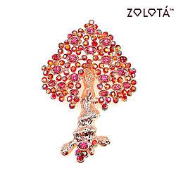 """Брошка """"Дерево жизни"""" с розовыми фианитами (куб. цирконием), в позолоте, ЗЛ00352 (1)"""