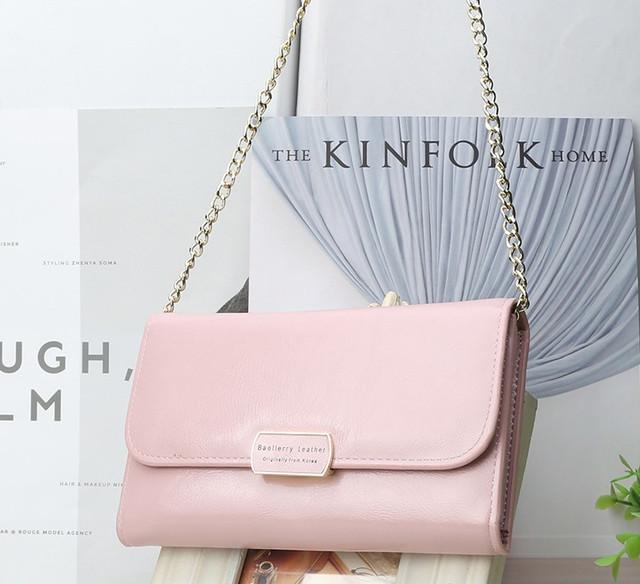 Клатч сумочка женская Baellerry Leather 5512 с ремешком розовая