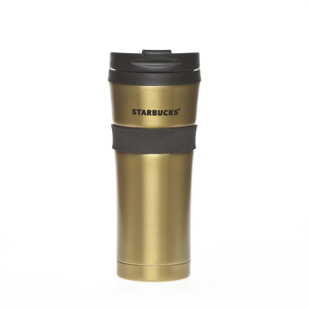 Термокружка Starbucks с резиновой полоской Золото