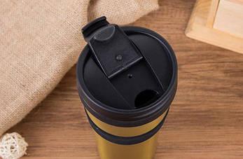 Термокружка Starbucks с резиновой полоской Золото, фото 2