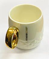 """Керамическая чашка """"Starbucks Gold"""". Черная  (Присутствует деффект)"""