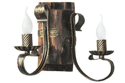 "Бра дерев'яне ""Таран"" постарене темне на 2 лампи, фото 2"