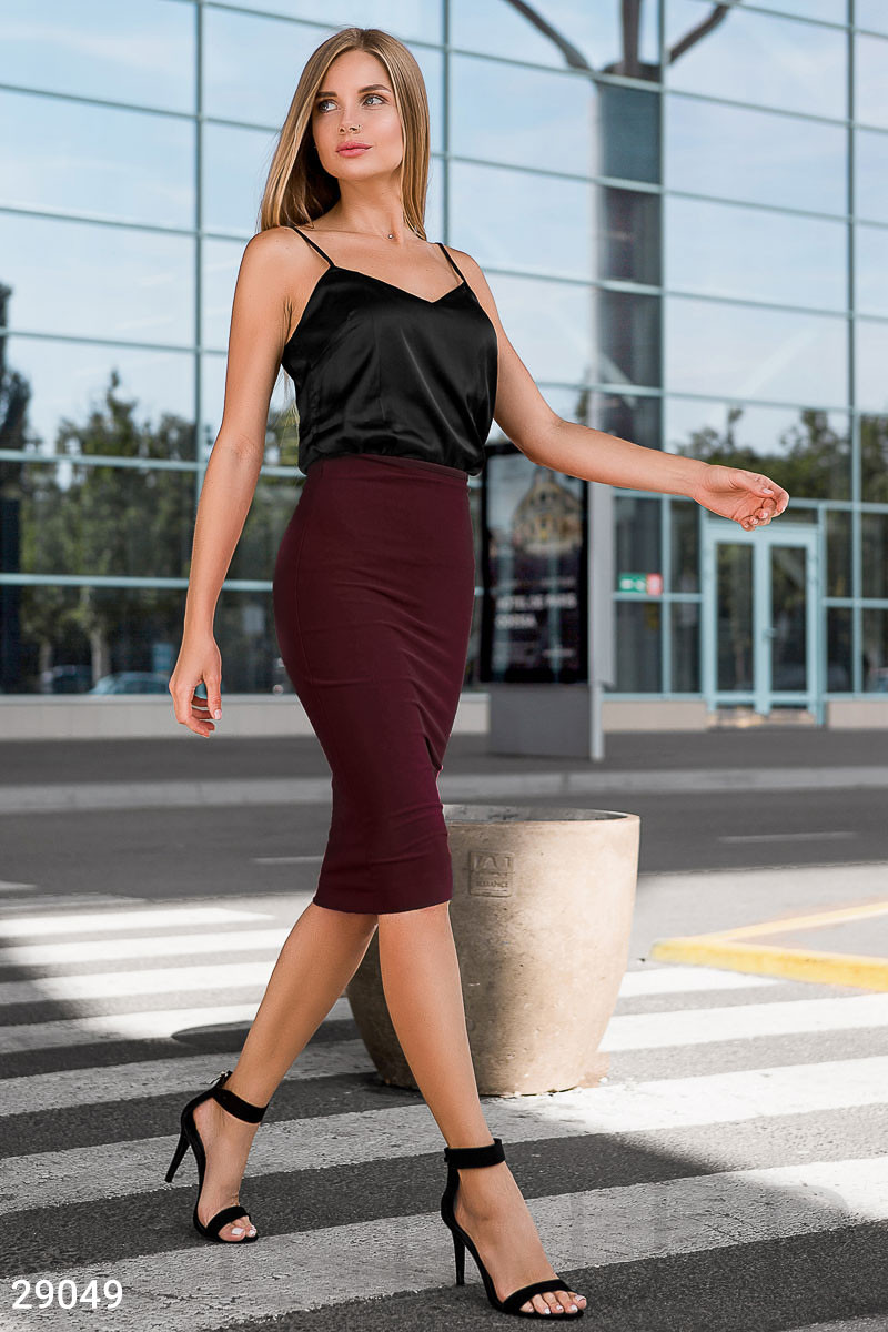 Облегающая юбка-карандаш длины миди бордовая