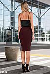 Облегающая юбка-карандаш длины миди бордовая, фото 3