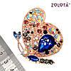 """Брошка """"Махаон"""" с разноцветными фианитами (куб. цирконием), в позолоте, ЗЛ00340 (1), фото 3"""