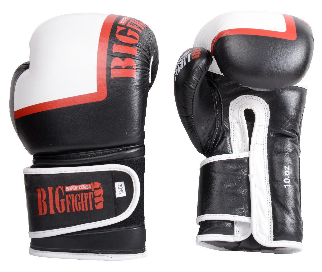 Боксерские перчатки  черно-белые BigFight 16 ун кожа