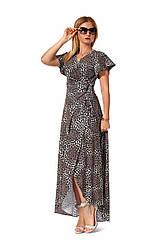 Длинное платье на запах 1162.1 принт тигр серый