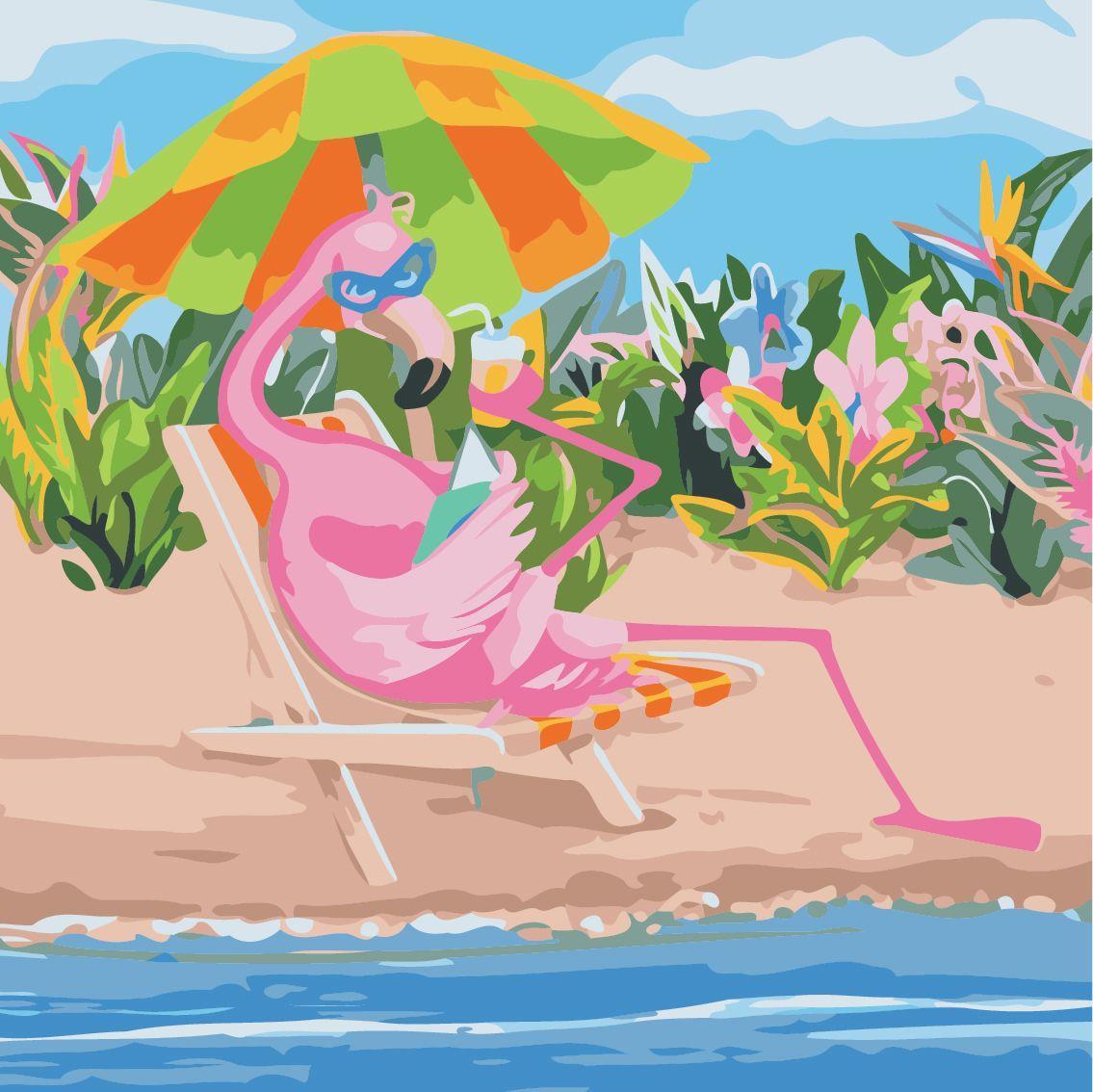 Фламинго на отдыхе, 40х40 см без коробки «ArtStory» (AS0507)
