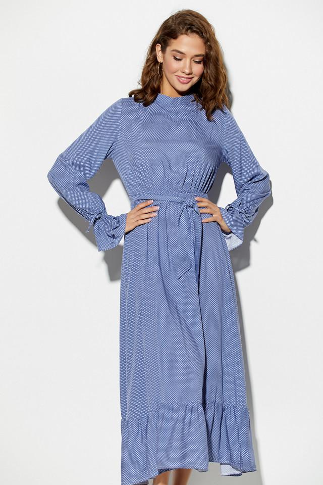 Женское нарядное платье с воланом, синее, молодёжное, летнее, миди, праздничное, элегантное, повседневное