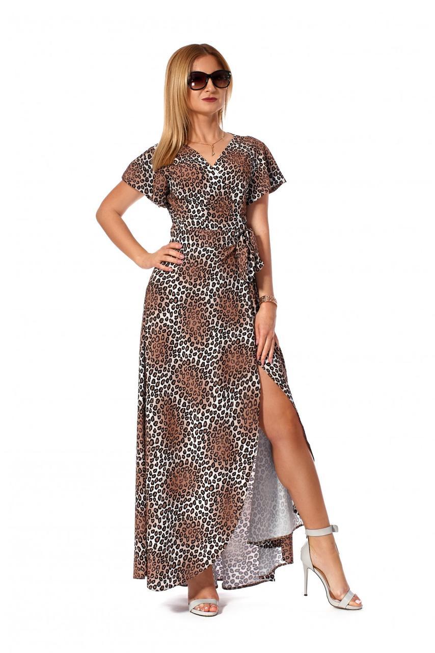 Длинное платье на запах 1162.2 принт тигр коричневый