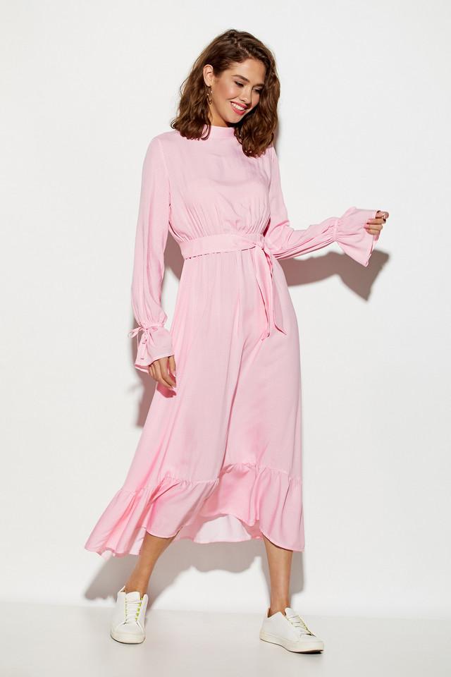 Женское нарядное платье с воланом, розовое, молодёжное, летнее, миди, праздничное, элегантное, повседневное