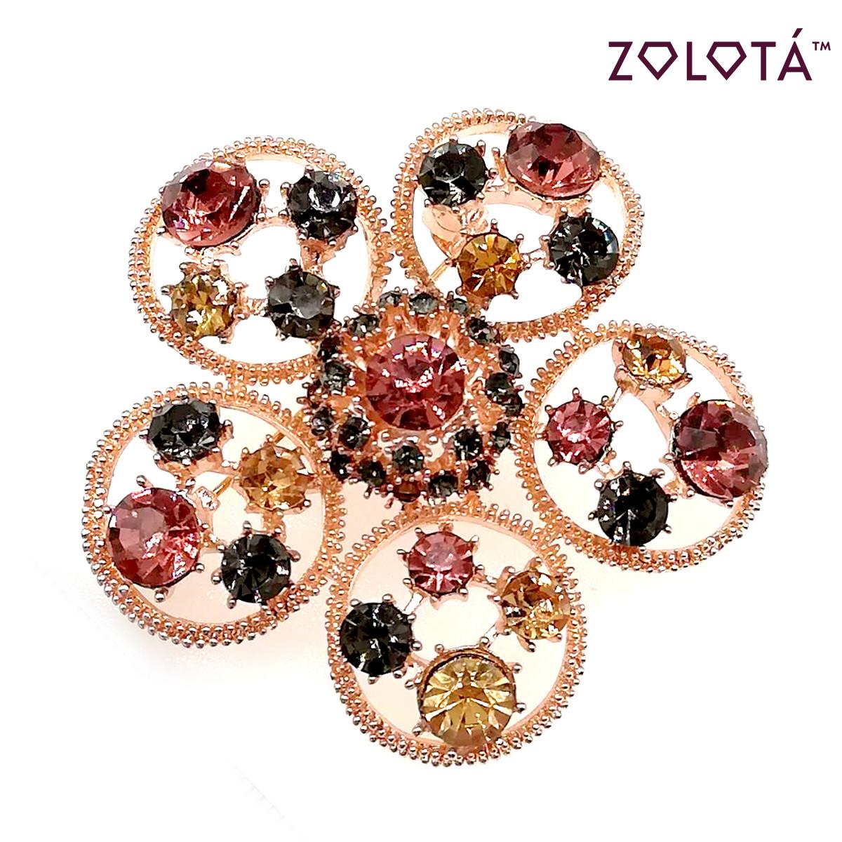 """Брошка """"Цветочек"""" с разноцветными фианитами (куб. цирконием), в позолоте, ЗЛ00281 (1)"""