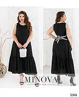 Оригинальное летнее платье черное Большого размера