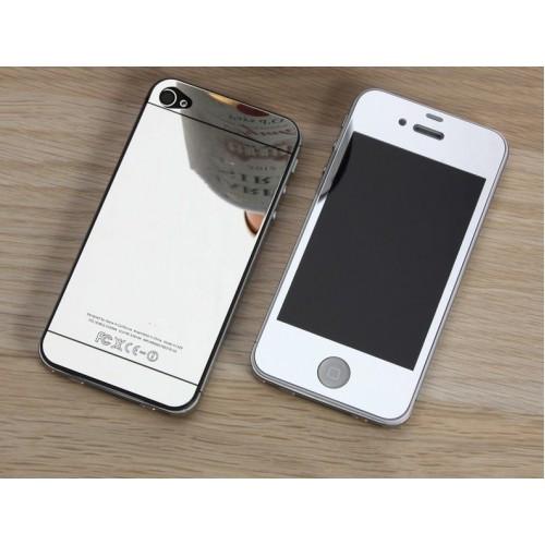 Защитное стекло 2 в 1 для Iphone 4, silver