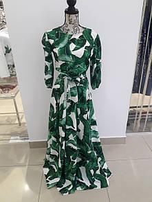 Платье листья зелёное VSV