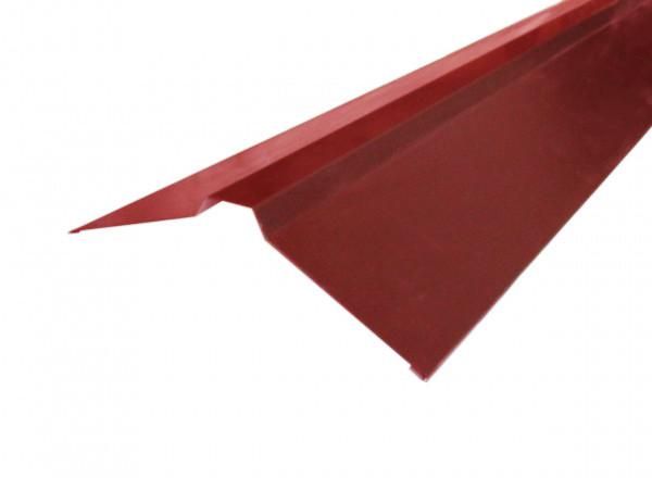 Конек кровельный, 2 м, фигурный, Цвет вишня 3005, метал+цинк+полимер