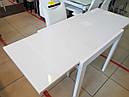 Стол обеденный Слайдер Белый со стеклом Ультрабелый, 81,5(+81,5)*67см, фото 3