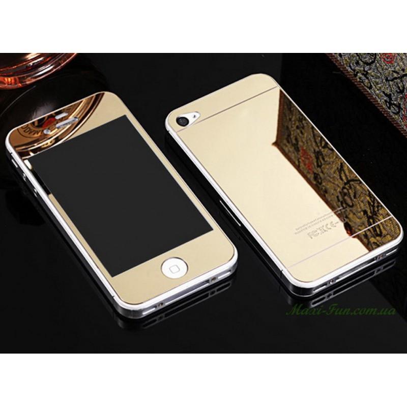 Защитное стекло 2 в 1 для Iphone 4, gold