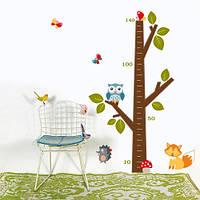 Виниловая декоративная наклейка Дерево ростомер (линейка роста, наклейка на стену в детскую)