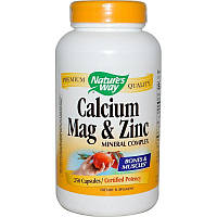 Кальций, магний, цинк, Nature's Way, Calcium, Mag & Zinc, 250 капсул