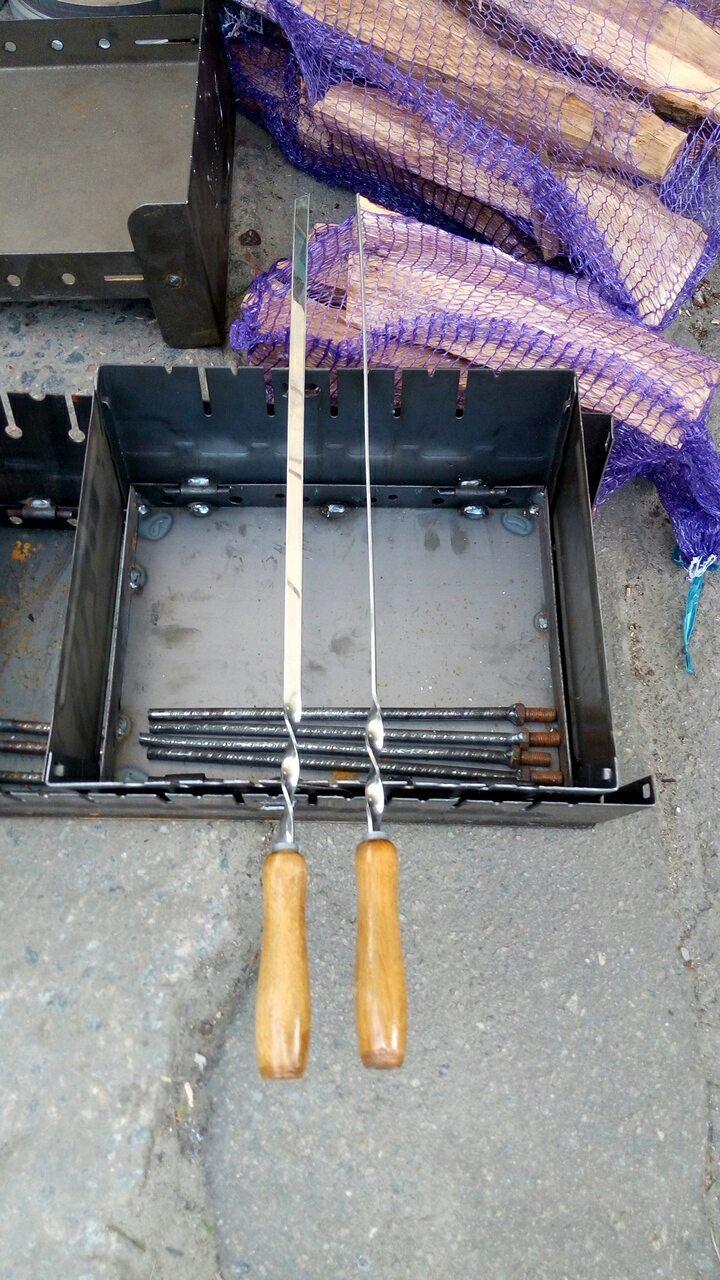 Шампур  нержавейка плоский с деревянной ручкой 70*13*3мм