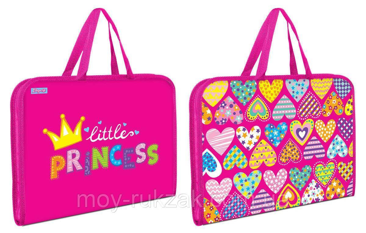 """Папка-портфель на молнии с тканевыми ручками """"Little Princess"""" арт.491607"""