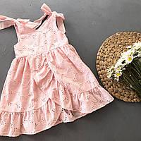 Літнє рожеве дитяче плаття з прошви для дівчинки
