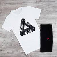 Продается ТОЛЬКО мужская футболка из хлопка с принтом Palace комфортная на каждый день белая, ТОП-реплика
