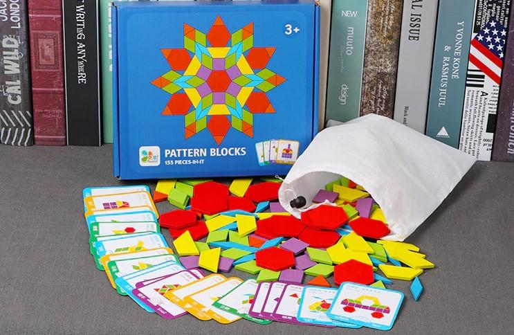 Деревянная развивающая мозаика Танграм 155 деталей + карточки с заданиями