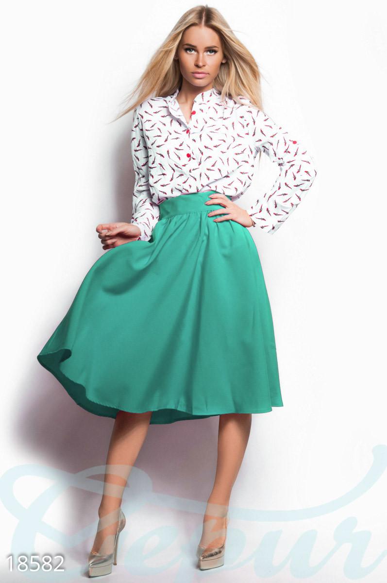 Классическая юбка клеш с высокой посадкой мятная