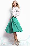 Классическая юбка клеш с высокой посадкой мятная, фото 2