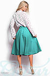 Классическая юбка клеш с высокой посадкой мятная, фото 3