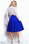 Классическая юбка клеш с высокой посадкой синяя, фото 3