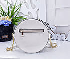 Женский круглый клатч в цвете беж с декором из жемчужинок , эко кожа , фото 6