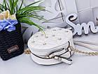 Женский круглый клатч в цвете беж с декором из жемчужинок , эко кожа , фото 5