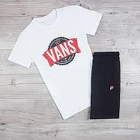 Продается ТОЛЬКО мужская футболка Vans хлопковая стильная с принтом в белом цвете, ТОП-реплика