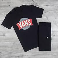Мужская футболка Vans хлопковая модная с принтом в черном цвете, ТОП-реплика