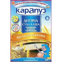 Безмолочная каша Карапуз мультизлаковая с минералами, витаминами, пребиотиками и мелиссой, 250 г (мягкая упак)