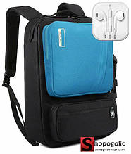 Рюкзак Сумка для Ноутбука 15-17 дюймов в стиле Socko с Наушниками Черный с синим