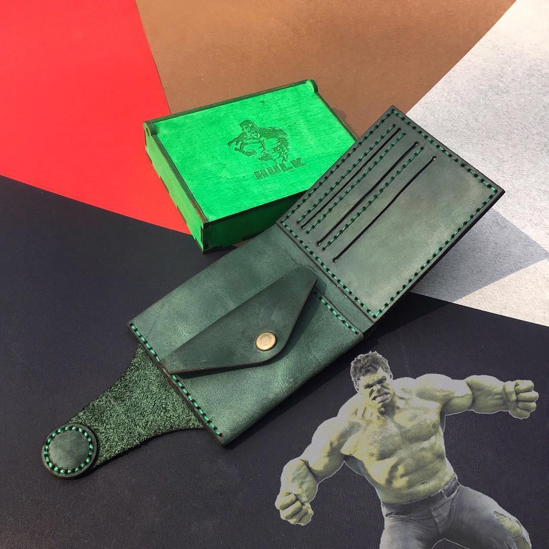 Складной кожаный кошелек ручной работы
